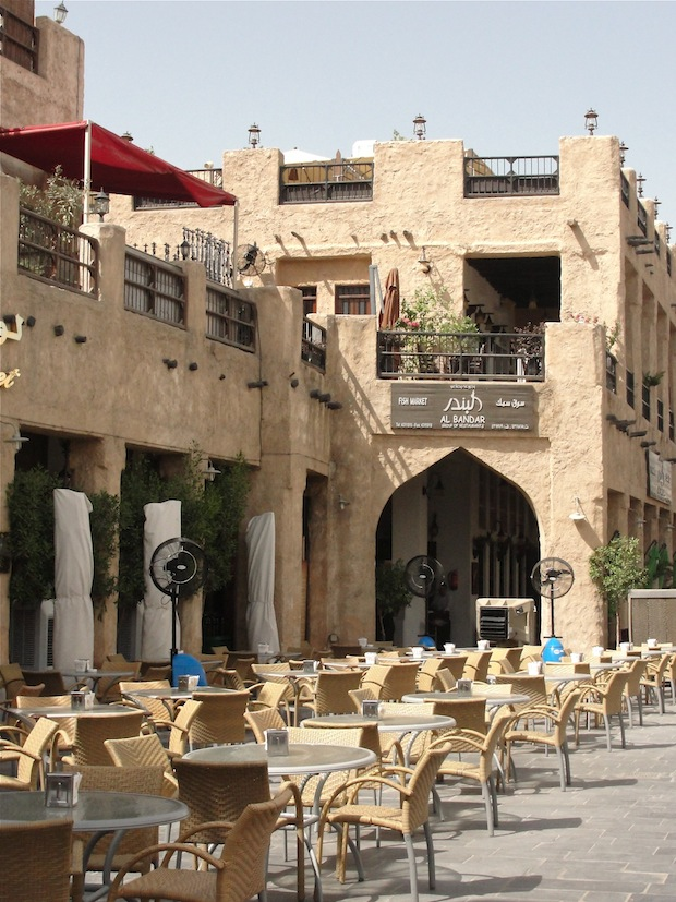 restaurants and shisha places at the spice market in doha