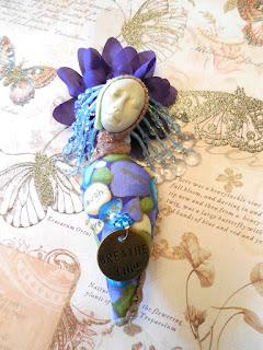 A Handmade Beaded Cloth and Clay Folk Art Doll with Poem by Jeanne Fry Art
