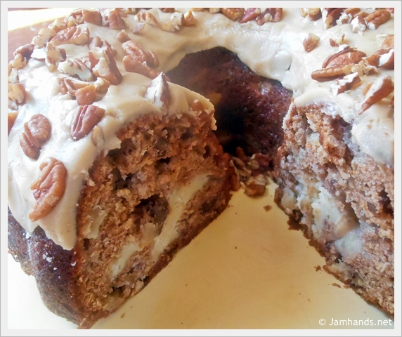 Jam Hands: Apple and Cream Cheese Bundt Cake with Caramel Pecan ...
