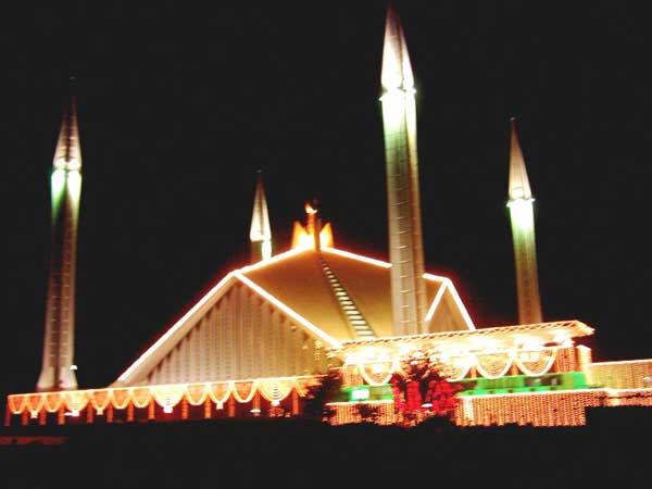 Faisal Masjid Decorated On Eid