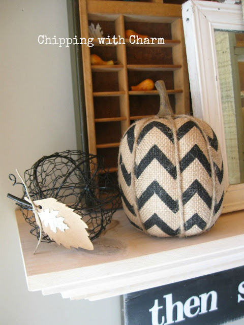 Chipping with Charm: Fall Mantel Dollar Spot Pumpkins...www.chippingwithcharm.blogspot.com