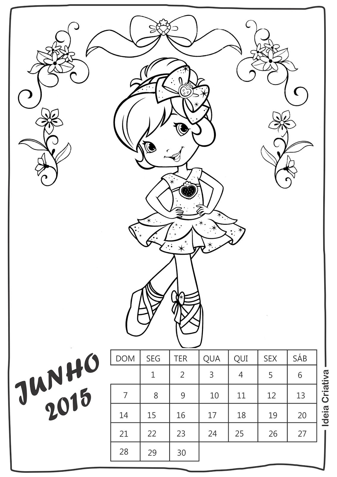 Calendário Junho Moranguinho para imprimir e colorir
