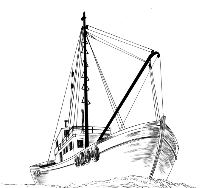 Jed alexander drawing a fishing boat how do you draw a for How to ship fish