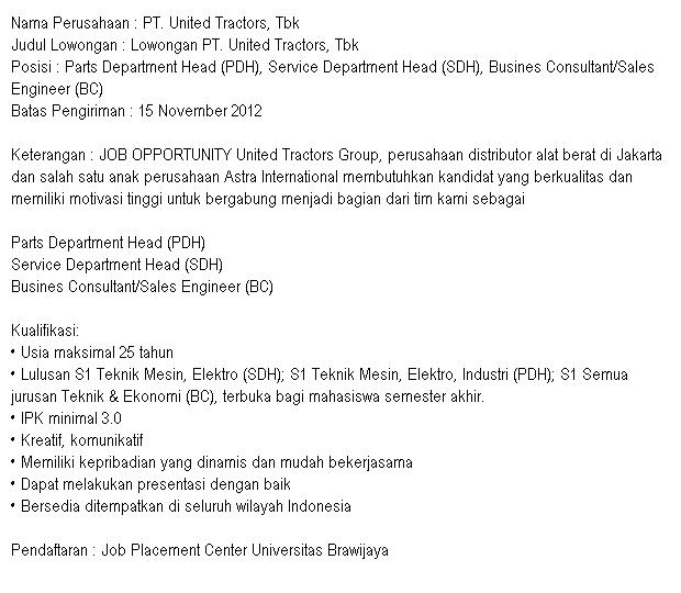 Lowongan Pekerjaan PT. United Tractors, Tbk