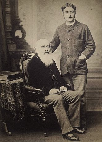 John Lockwood Kipling with his son . Lakshminarayan had learned photography from him.