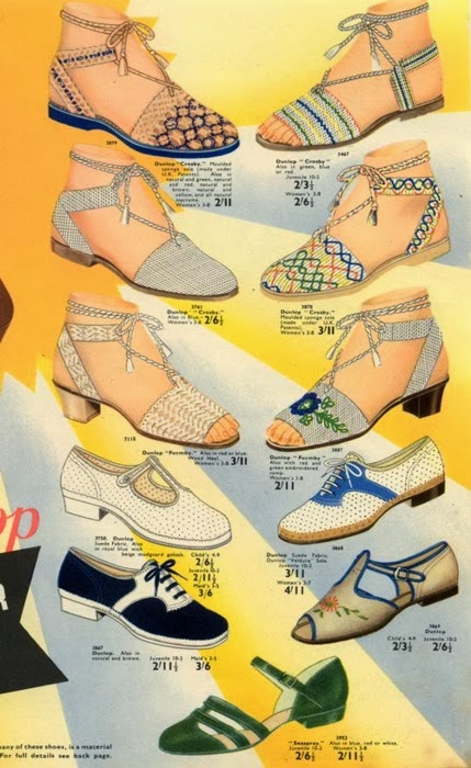 Flashback Summer:  Let's Talk Flats- 1940s, 1950s vintage flat shoes
