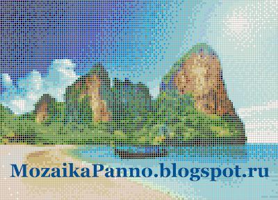 Панно из стеклянной мозаики «Море и горы»