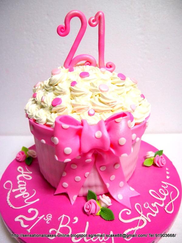 The Sensational Cakes 21st Birthday White Giant Cupcake Cake