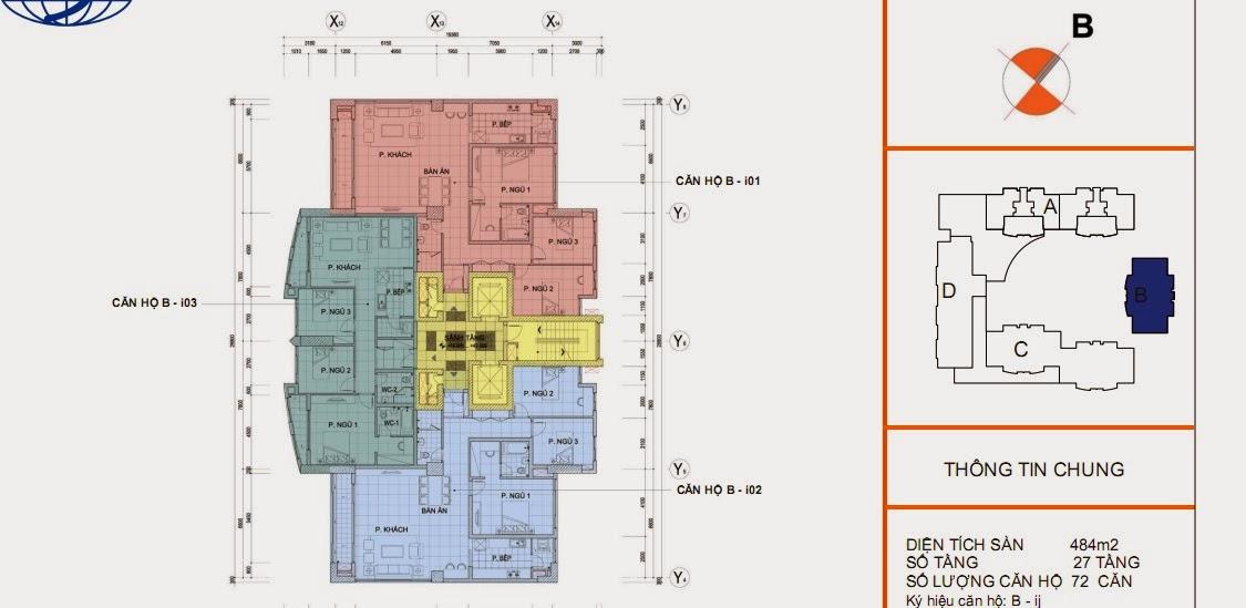 Mặt bằng sàn thiết kế chi tiết tòa B - chung cư Vinaconex 1, 289 Khuất Duy Tiến