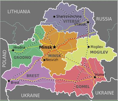 Mapa da Bielorrússia Política Regional