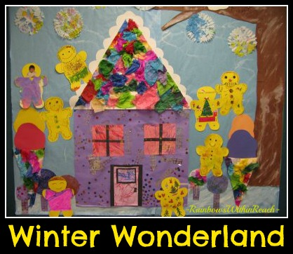 photo of: Winter Wonderland Bulletin Board with Gingerbread Motif (from Bulletin Board RoundUP via RainbowsWithinReach) 