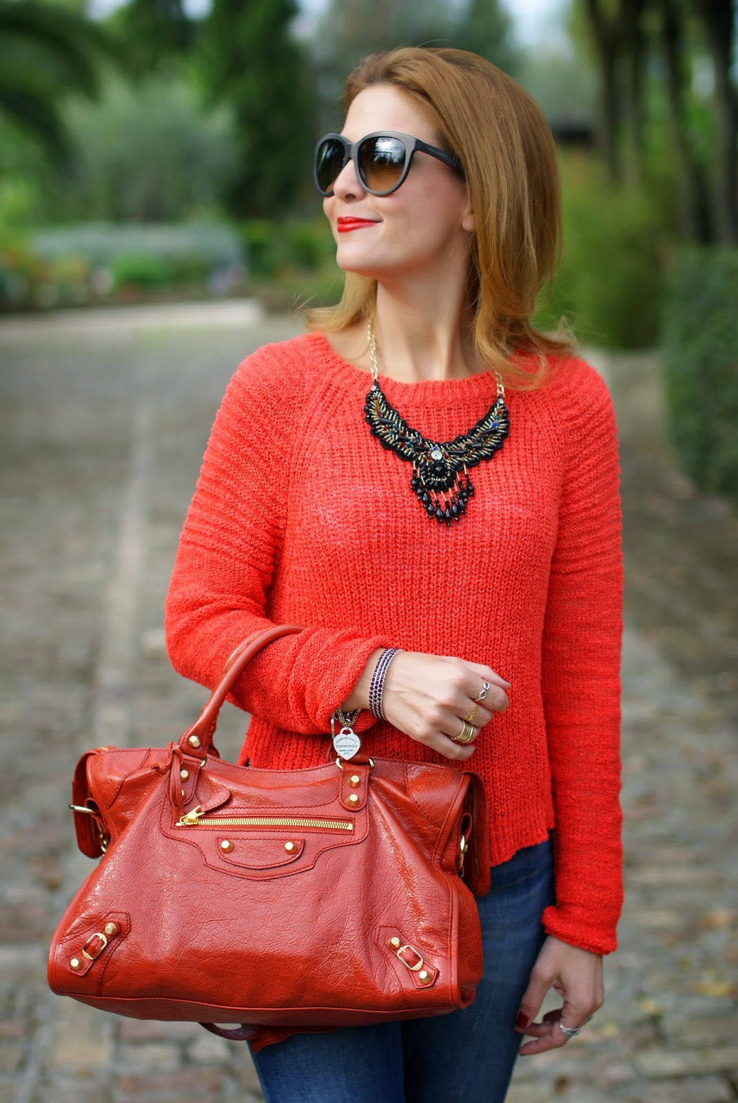 Balenciaga City rouge ambre bag, Luca Barra jewels, Fashion and Cookies, fashion blogger