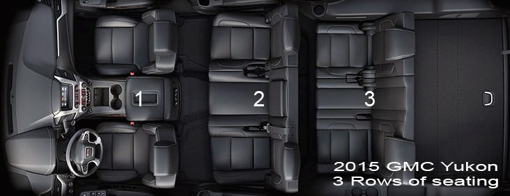 3 rows of seating, 2015 GMC Yukon, interior