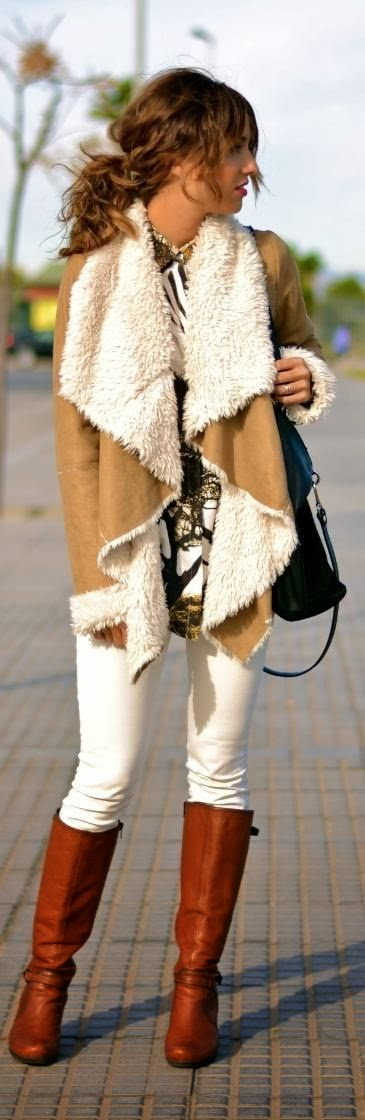 Camel color coat and long boots