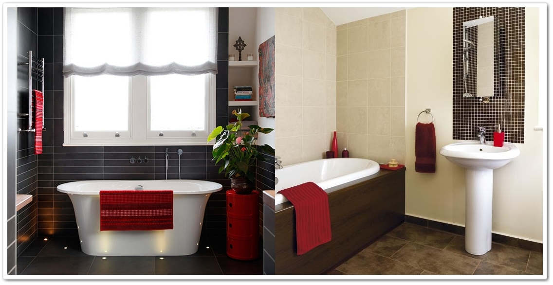 I heart home decor red hot for Red accent bathroom