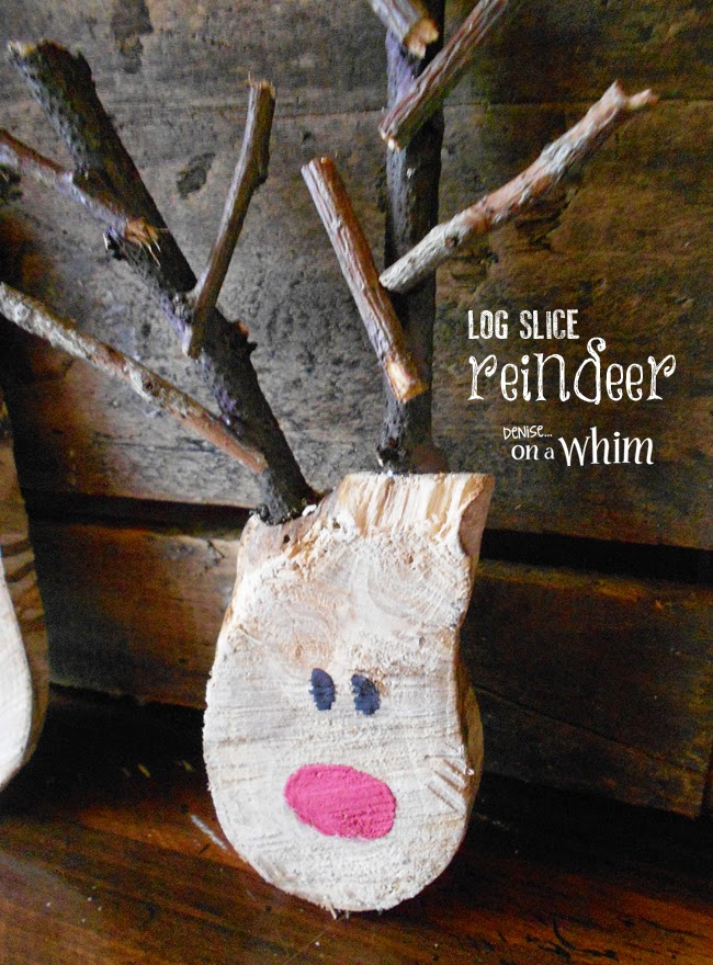 The Cutest DIY Reindeer Made from Log Slices via Denise on a Whim
