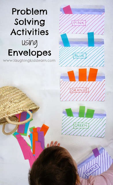simple problem solving activities for literacy and math using envelopes for kids