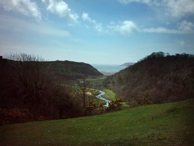Three Cliffs Bay Gower Peninsula view with river meandering