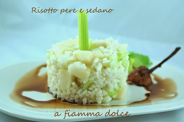 risotto veg e light alle pere e sedano