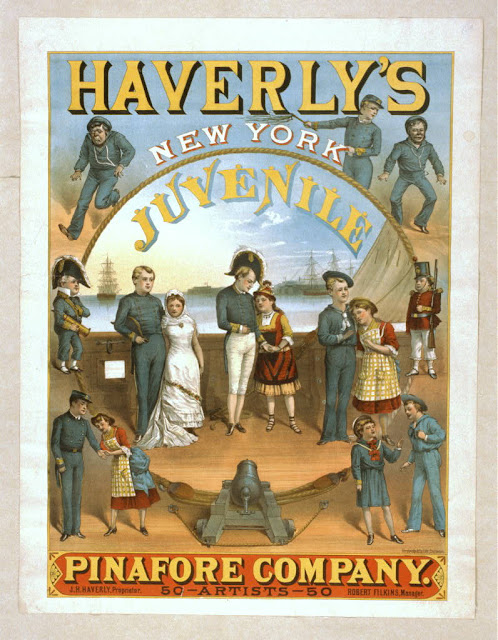 advertising, art, classic posters, free download, graphic design, movies, retro prints, theater, vintage, vintage posters, Haverly's New York Juvenile, Pinafore Company - Vintage Theater Poster