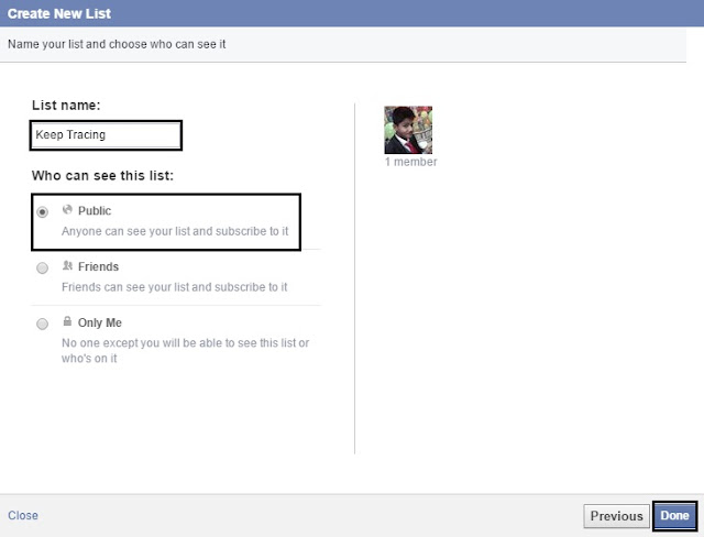 Final step to create facebook list