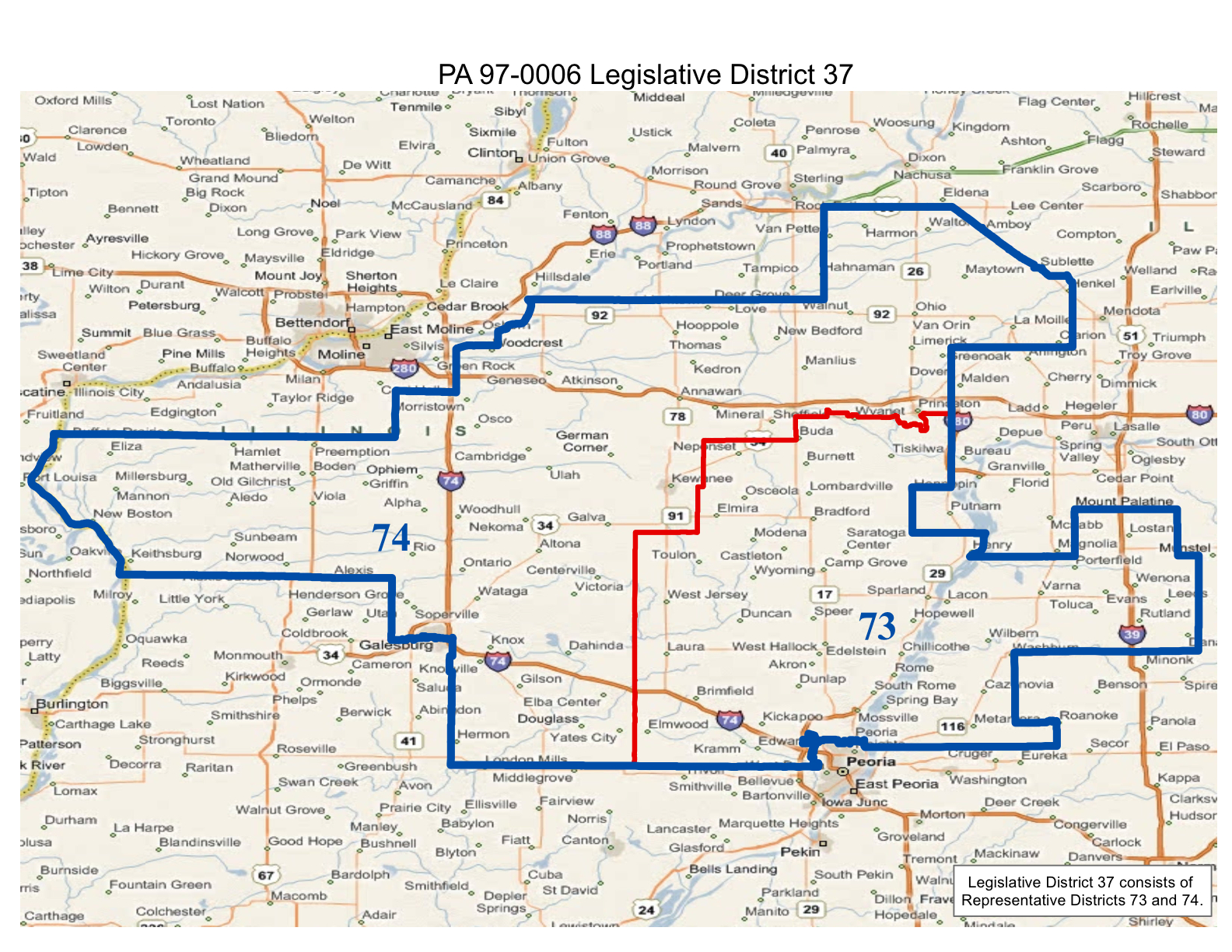 map of realigned illinois state legislative district 37 and state representative districts 73 and 74