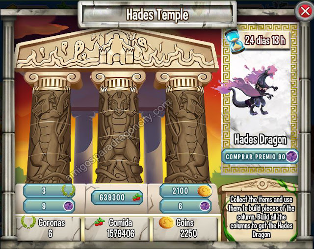 imagen de las tareas del templo de hades de la isla olympus de dragon city
