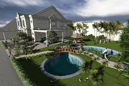 Jasa Gambar Rumah dengan Desain Taman yang Asri dengan Kolam dan Gazebo