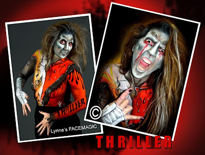 Thriller body artist tribute by Lynne's FACEMAGIC Melbourne body painter