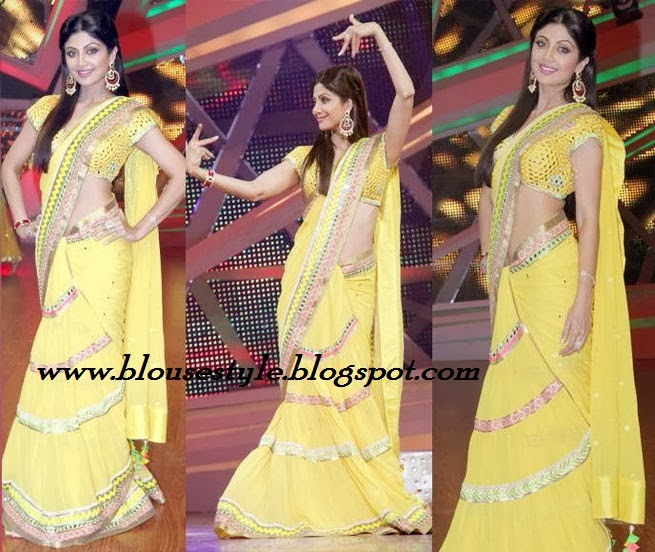 Bollywood actress shilpa shetty in yellow sari
