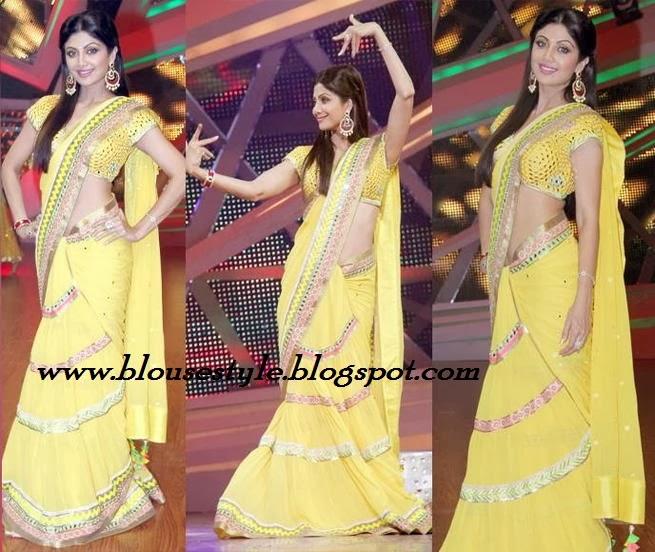 Bollywood actress shilpa shetty in yellow sari