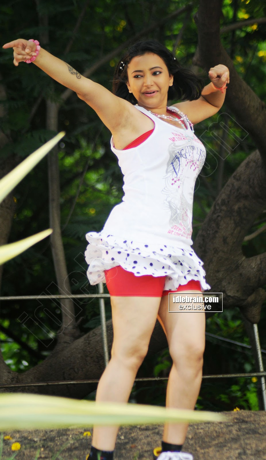 Swetha Basu red shorts