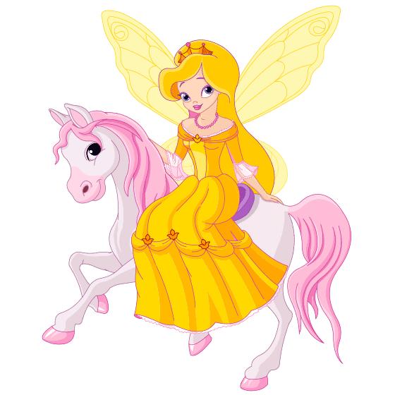 Hada infantil dorada con pony