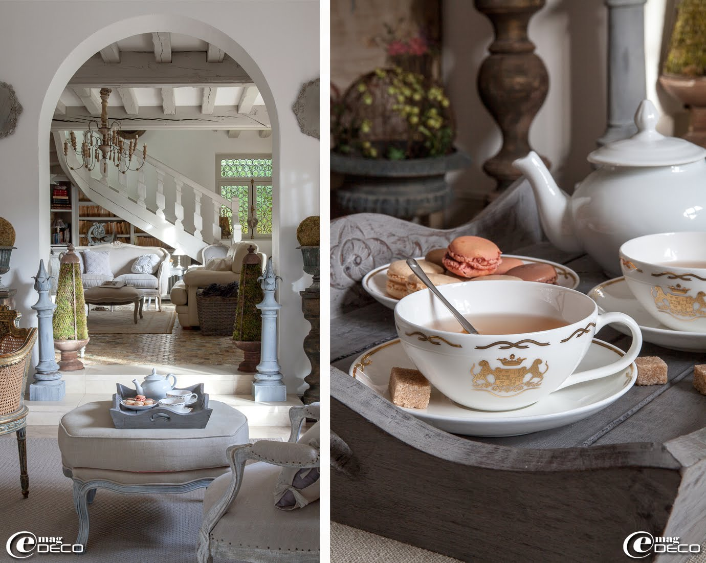 Tasses à thé 'Blason' éditées en 1000 exemplaires, fruit d'une collaboration entre Arielle Dombasle et 'Villeroy & Boch'