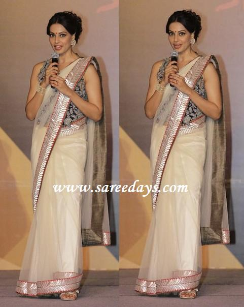 latest saree designs bipasha basu in white designer