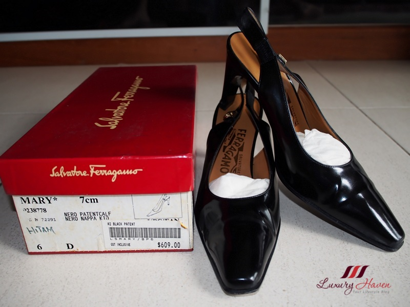salvatore ferragamo mary nero patent calf slingback heels
