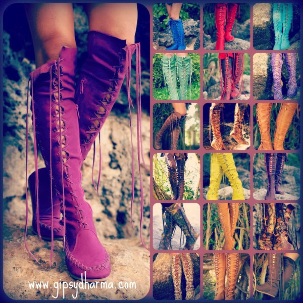 Brightly Colored Leather Lace Up Boots by Gipsy Dharma