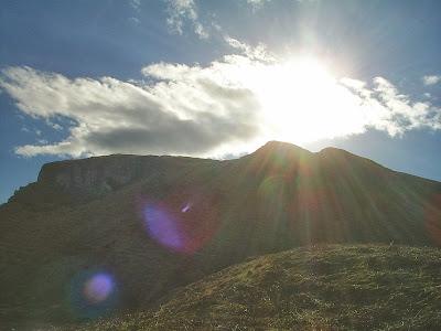 Sunshine over the hills of Isle of Kerrera, Oban, Scotland