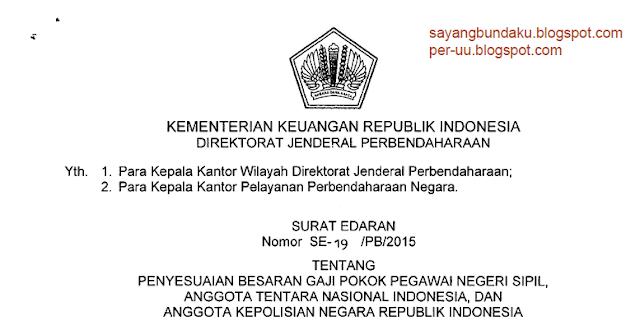 SE Penyesuaian Gaji Pokok 2015