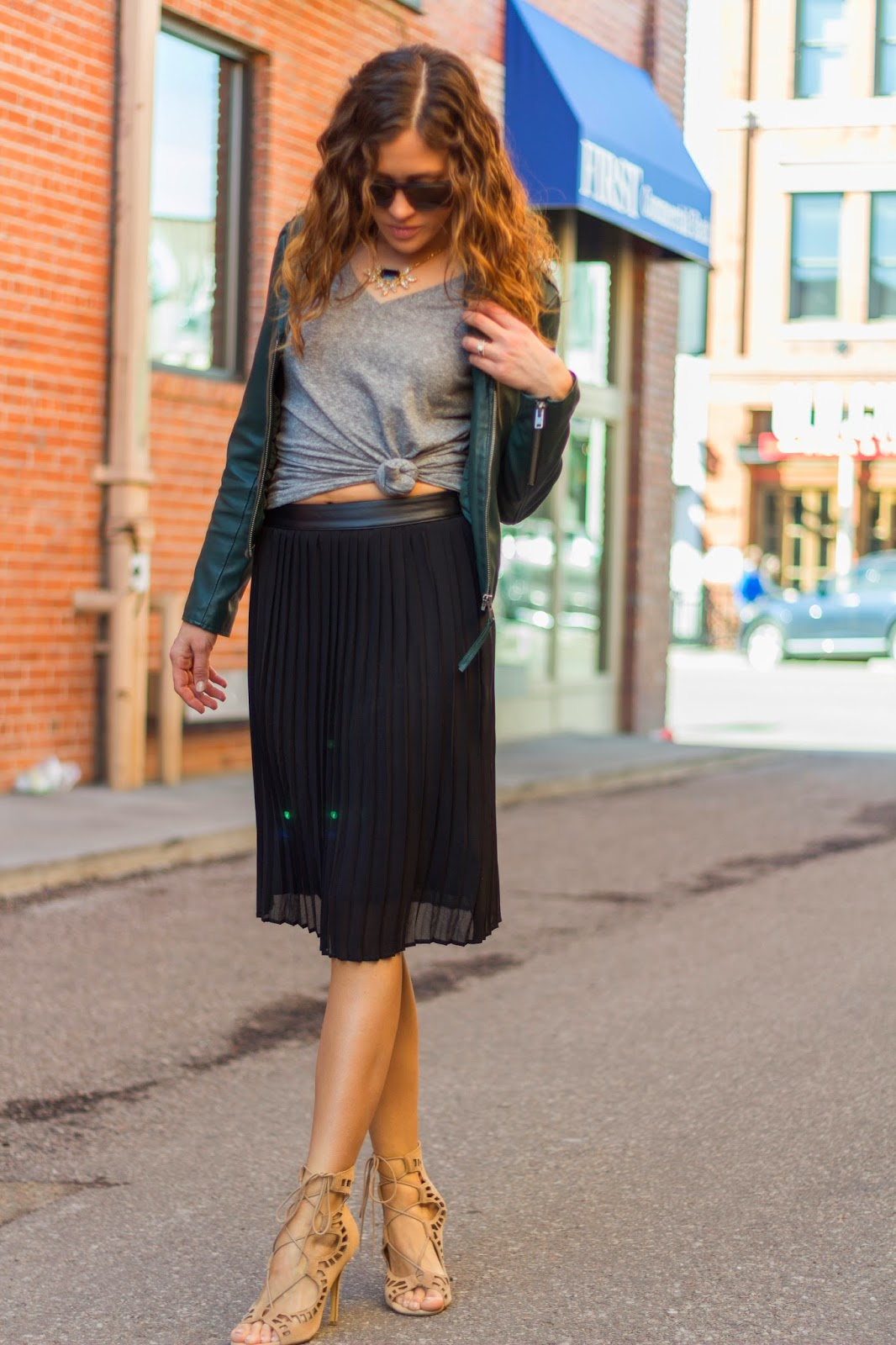 Pleated Midi With Knotted Tee