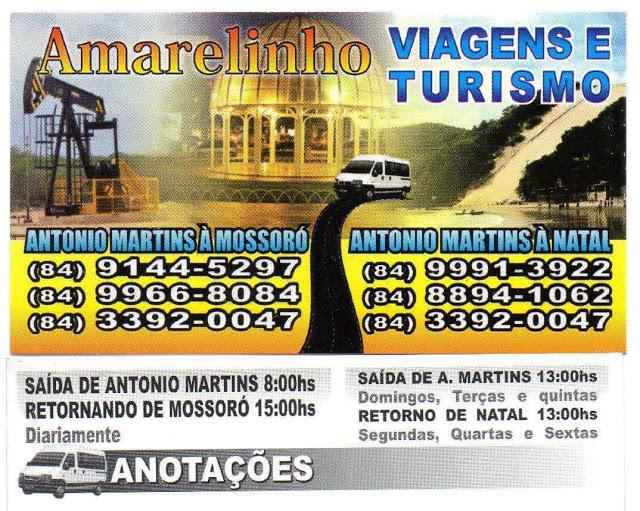 Amarelinho Viagens e Turismo. Em Antonio Martins - RN