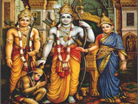 Group picture of Rama, sita, laxman and hanuman