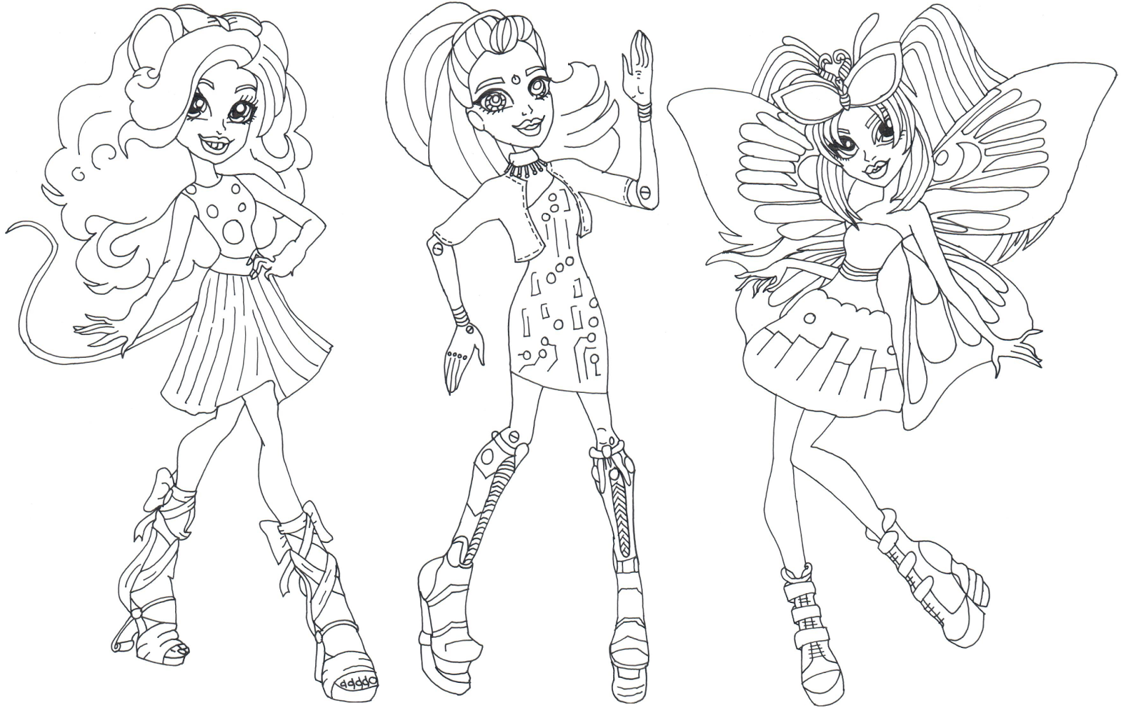 gala ghoulfriends boo york monster high coloring page