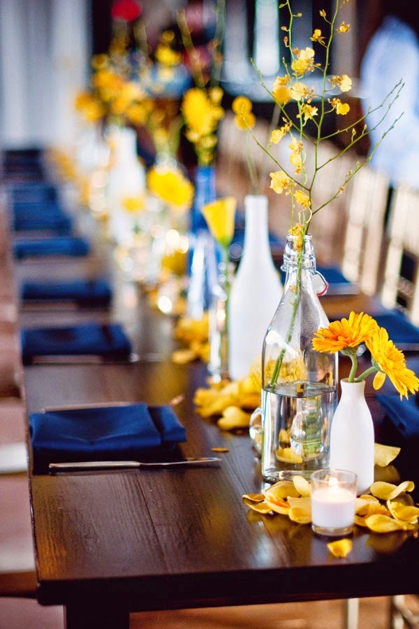 The confetti yellow and blue wedding ideas from