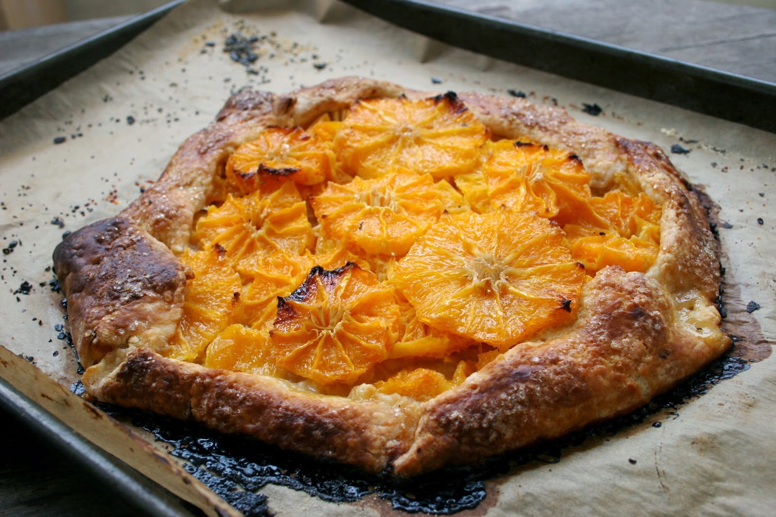 Satsuma Orange Galette with a Cream Cheese Crust, Side View
