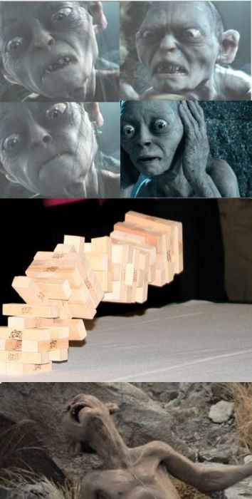 Gollum Playing Jenga With Full Of Patience