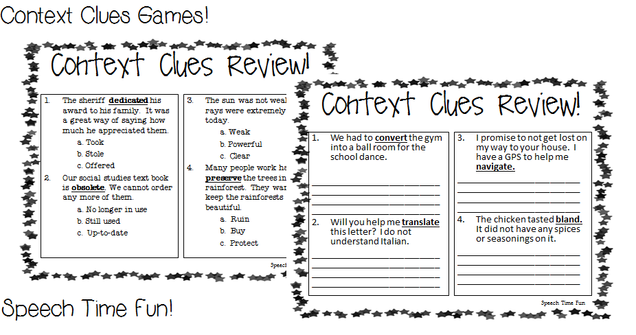 Context Clues Games – Context Clues Worksheets Multiple Choice