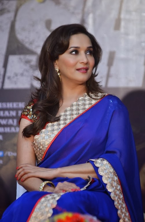 Madhuri Dixit blue chiffon saree at the Launch of 'Dedh Ishqiya' Music