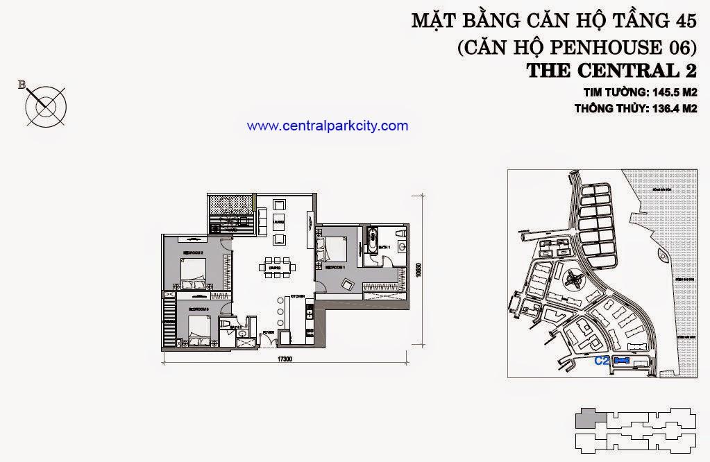 Vinhomes Central Park Penthouse - Căn số 06 tầng 45 - 3PN - 145.5m2
