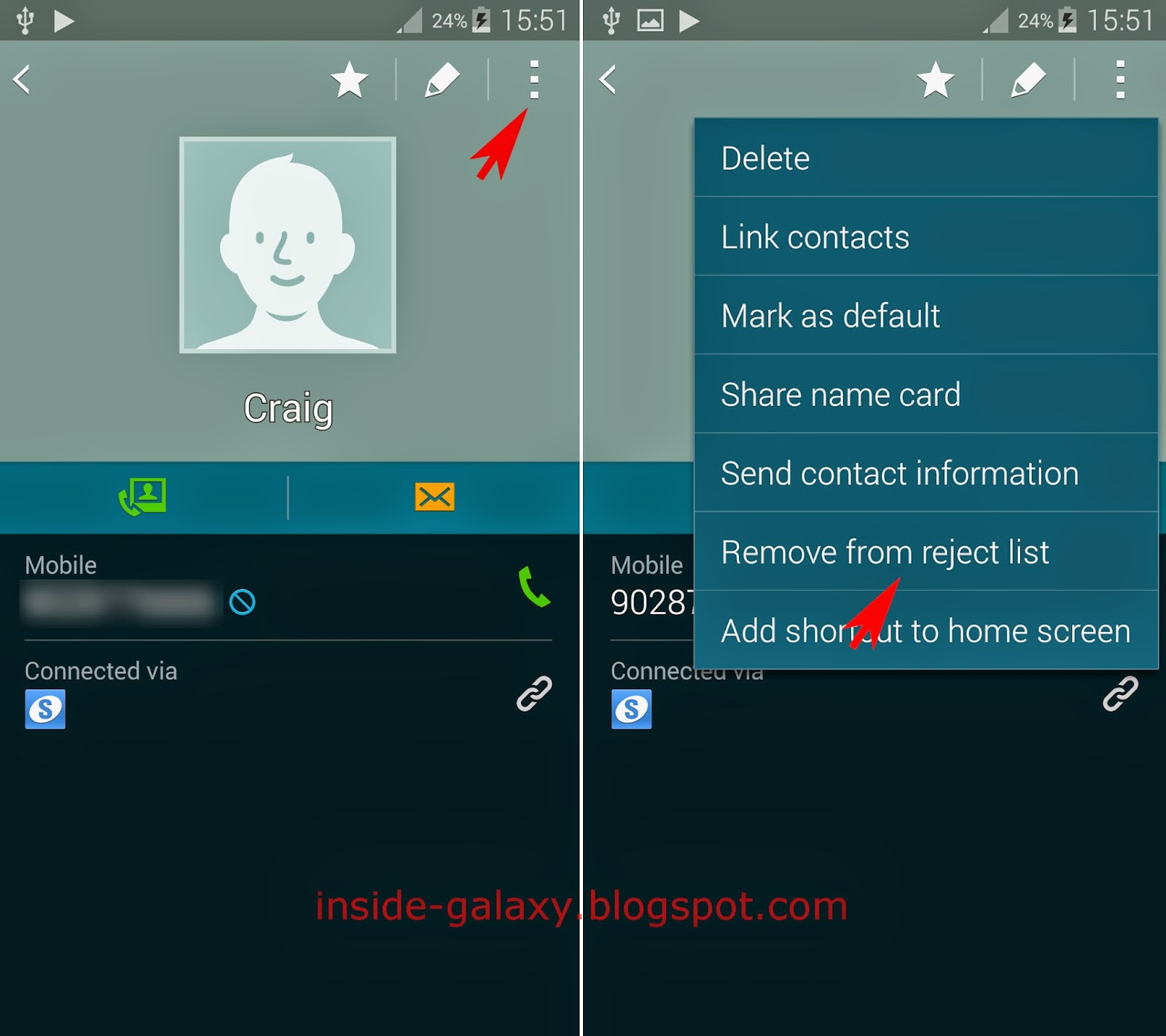 Samsung Galaxy S5 How to Add or Remove Contact From the Reject List